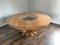 Bespoke solid Oak/glass round table